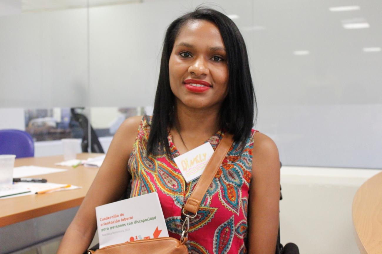 Una alumna del curso de orientación laboral para personas con discapcidad impartidas en el Ministerio de Trabajo